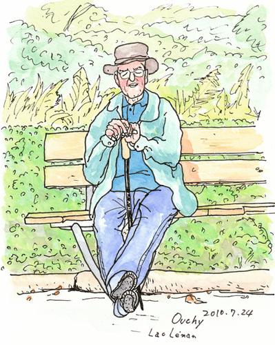 ベンチの老人