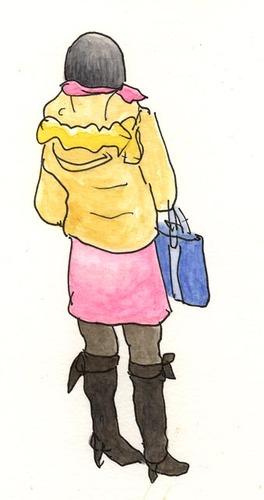 鞄を腕にかける女